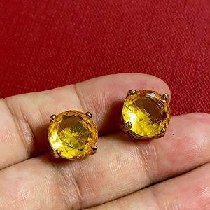 🖤HUGE yellow crystal earrings